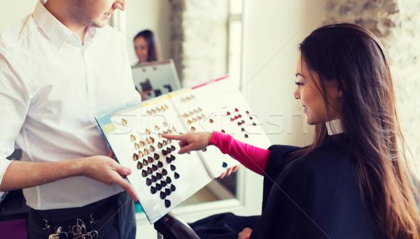 Nő választ hajszín paletta szalon szépség Stock fotó © dolgachov
