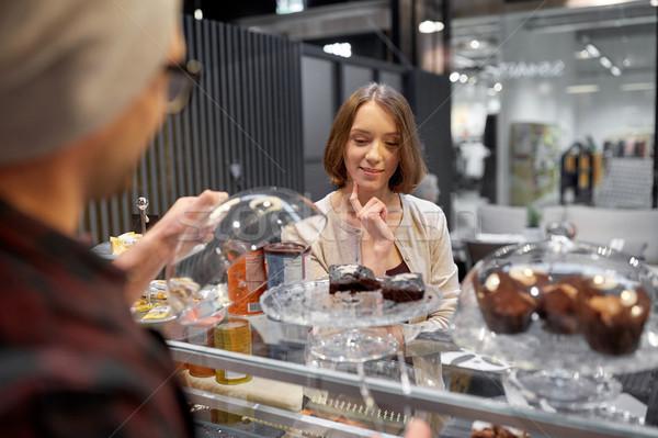 幸せ 女性 ケーキ 完全菜食主義者の カフェ ストックフォト © dolgachov
