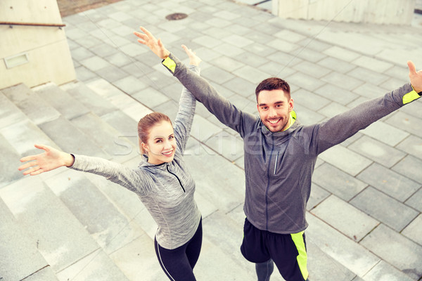 Boldog mosolyog pár kint figyelmeztetés fitnessz Stock fotó © dolgachov