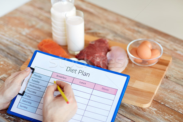 man with food and diet plan at home Stock photo © dolgachov