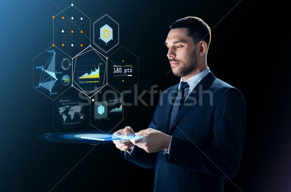 ビジネスマン バーチャル 投影 ビジネスの方々  現代 ストックフォト © dolgachov