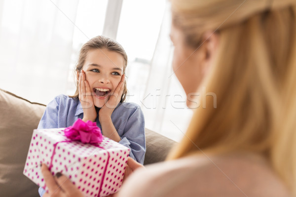 mother giving birthday present to girl at home Stock photo © dolgachov