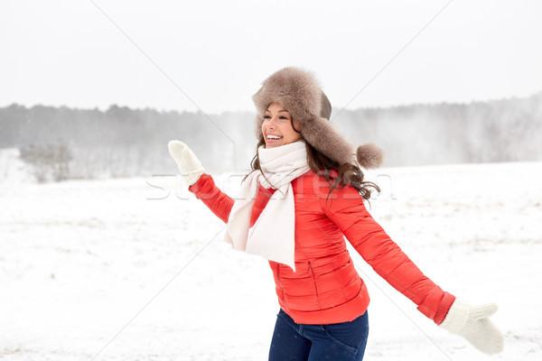 Stockfoto: Gelukkig · vrouw · winter · bont · hoed