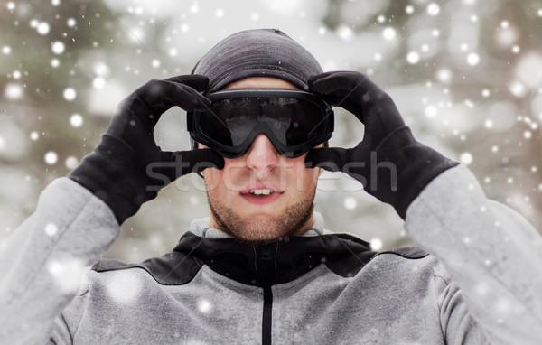 Sport man winter buitenshuis fitness Stockfoto © dolgachov