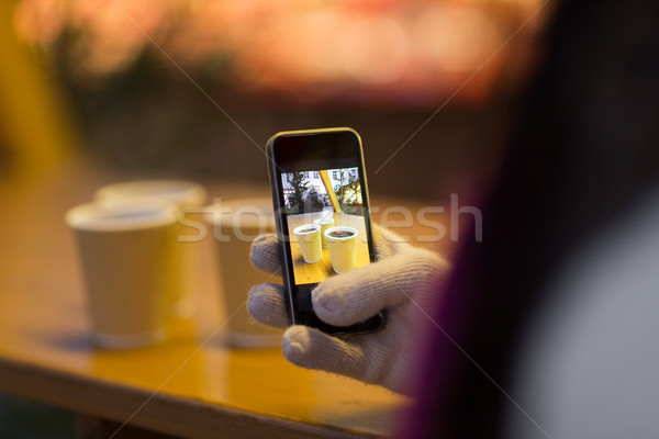 mulled wine picture on smartphone at christmas Stock photo © dolgachov