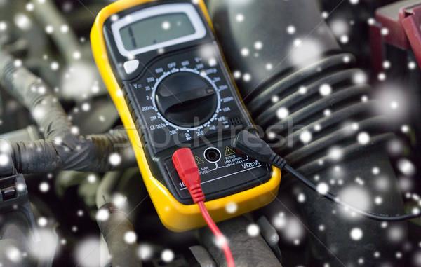 multimeter or voltmeter testing car battery Stock photo © dolgachov