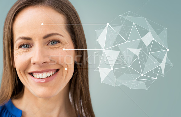 middle aged woman with pointers on her face Stock photo © dolgachov