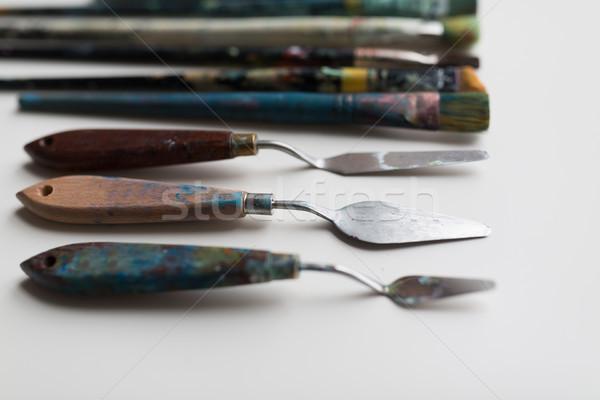 Paletta kések festmény képzőművészet kreativitás művészi Stock fotó © dolgachov