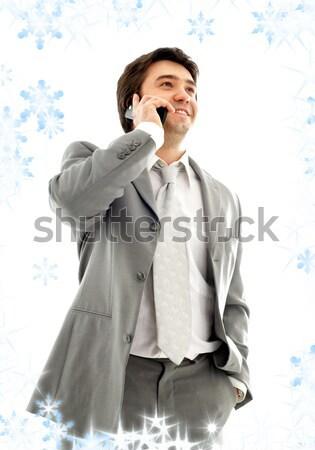 дружественный чате бизнесмен сотовый телефон серый костюм Сток-фото © dolgachov