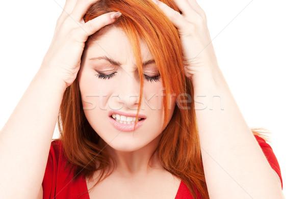 ストックフォト: 不幸 · 赤毛 · 女性 · 画像 · 白 · 悲しい