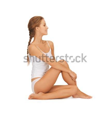 Feliz rubio peludo falda Foto sesión Foto stock © dolgachov