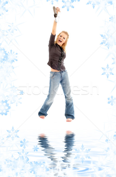screaming blond with shoe on white sand Stock photo © dolgachov