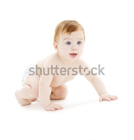 Foto stock: Bebê · menino · fralda · quadro · branco