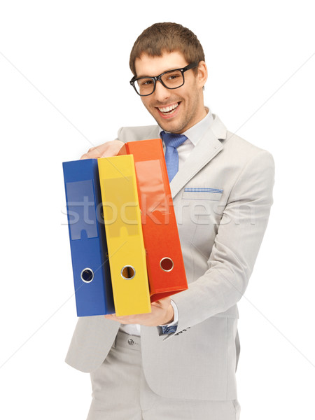 Hombre carpetas brillante Foto hombre guapo negocios Foto stock © dolgachov
