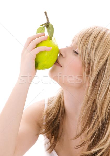 лимона ярко фотография блондинка женщину продовольствие Сток-фото © dolgachov