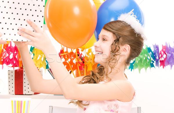 Partij meisje ballonnen geschenkdoos gelukkig vrouw Stockfoto © dolgachov