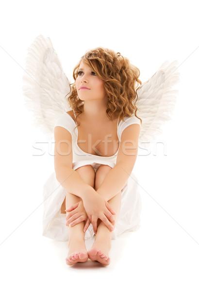 Anioł zdjęcie nieszczęśliwy dziewczyna biały Zdjęcia stock © dolgachov
