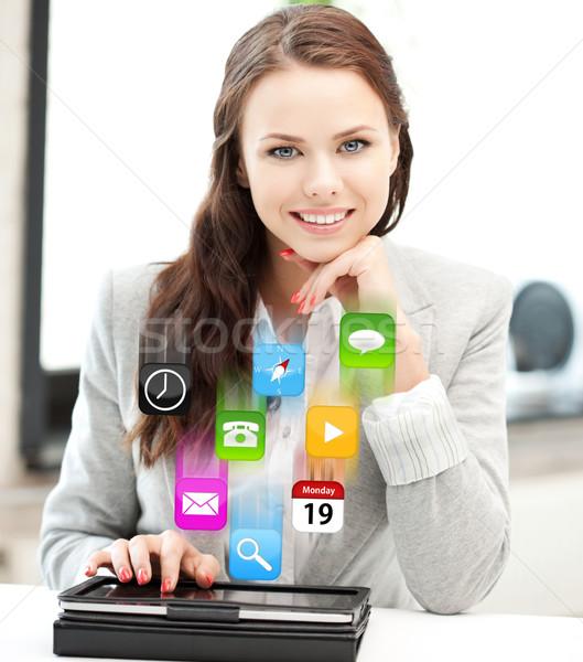 happy woman with tablet pc computer Stock photo © dolgachov