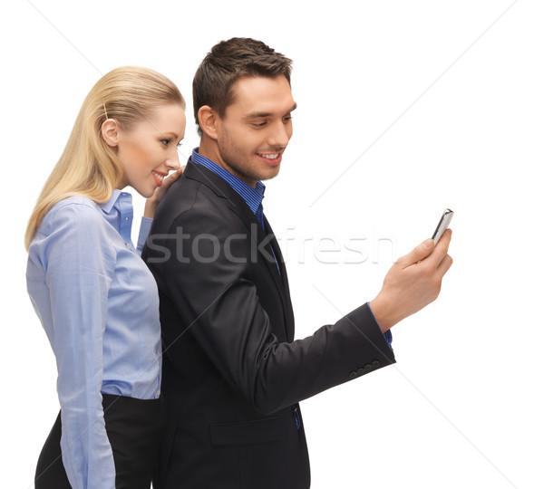 человека женщину чтение sms ярко фотография Сток-фото © dolgachov