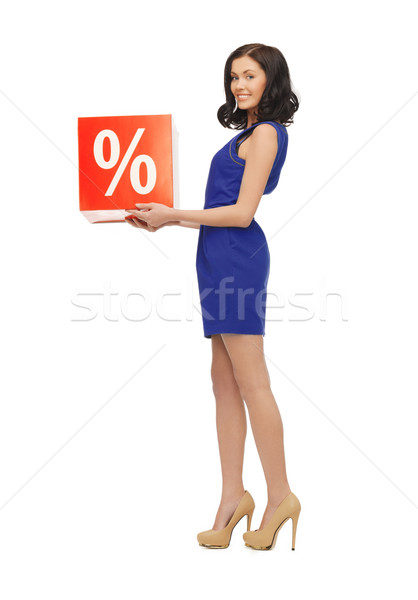 lovely woman in blue dress with percent sign Stock photo © dolgachov