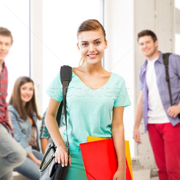 Foto d'archivio: Studente · ragazza · scuola · bag · colore · cartelle
