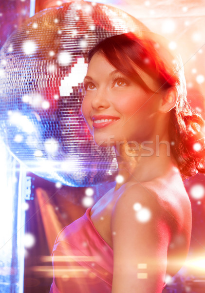 Nő estélyi ruha visel gyémánt fülbevalók luxus Stock fotó © dolgachov