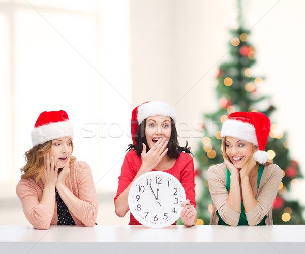 women in santa helper hats with clock showing 12 Stock photo © dolgachov