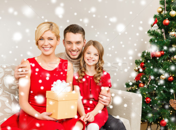 smiling family holding gift box Stock photo © dolgachov
