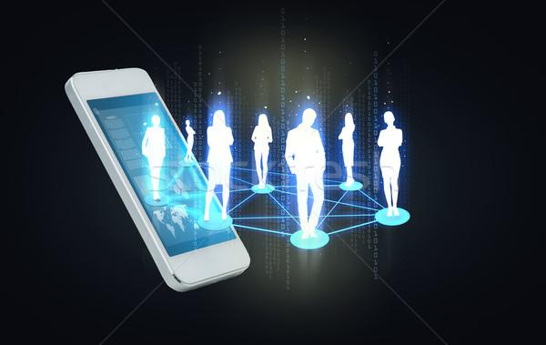 Smartphone społecznej business network działalności technologii kontakt Zdjęcia stock © dolgachov