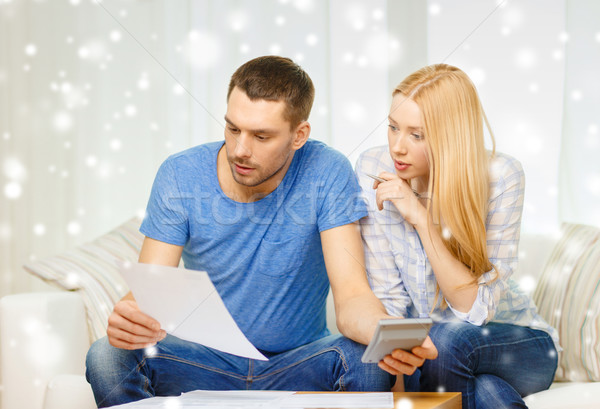 Beschäftigt Paar Papiere Rechner home Steuer Stock foto © dolgachov