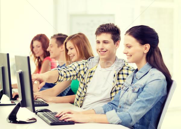 женщины студент Одноклассники компьютер класс образование Сток-фото © dolgachov