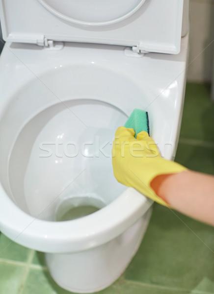Hand wasmiddel schoonmaken toilet mensen Stockfoto © dolgachov