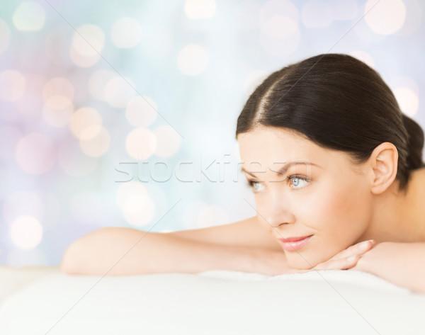 счастливым красивая женщина массаж столе Spa люди Сток-фото © dolgachov