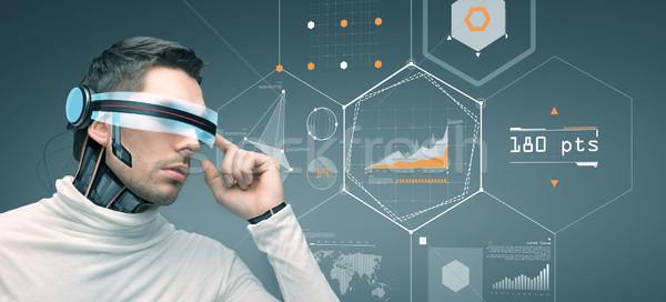 Uomo futuristico occhiali 3d persone tecnologia futuro Foto d'archivio © dolgachov