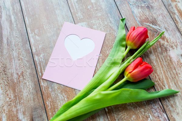 Stock fotó: Közelkép · tulipánok · üdvözlőlap · szív · valentin · nap · üdvözlet