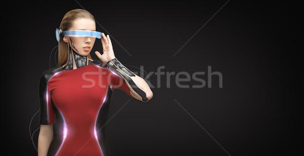 Frau futuristisch Gläser Menschen Technologie Zukunft Stock foto © dolgachov