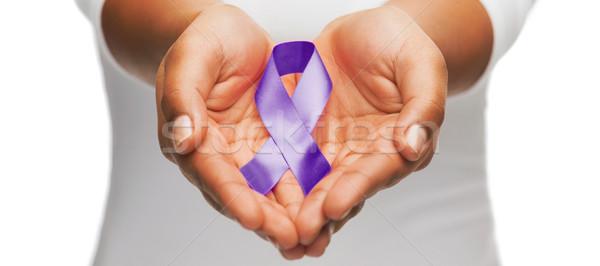 Stockfoto: Handen · paars · bewustzijn · lint · gezondheidszorg