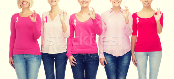 close up of women with cancer awareness ribbons Stock photo © dolgachov