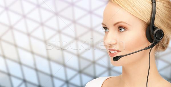 Segélyvonal kezelő headset hálózat üzletemberek technológia Stock fotó © dolgachov