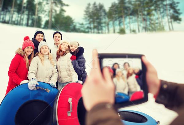 グループ 笑みを浮かべて 友達 雪 冬 ストックフォト © dolgachov