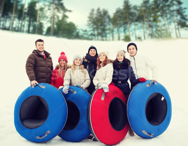группа улыбаясь друзей снега Трубы зима Сток-фото © dolgachov