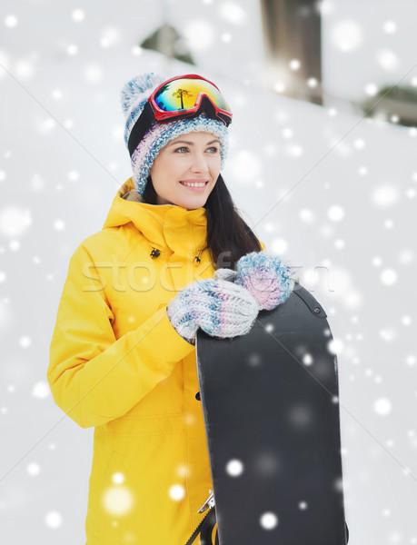 Boldog fiatal nő hódeszka kint tél szabadidő Stock fotó © dolgachov