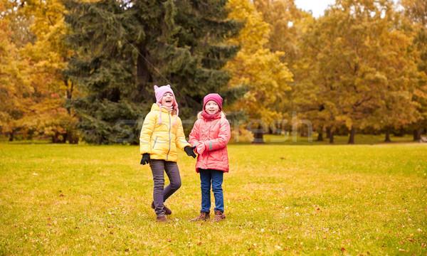 Kettő boldog kislányok ősz park gyermekkor Stock fotó © dolgachov