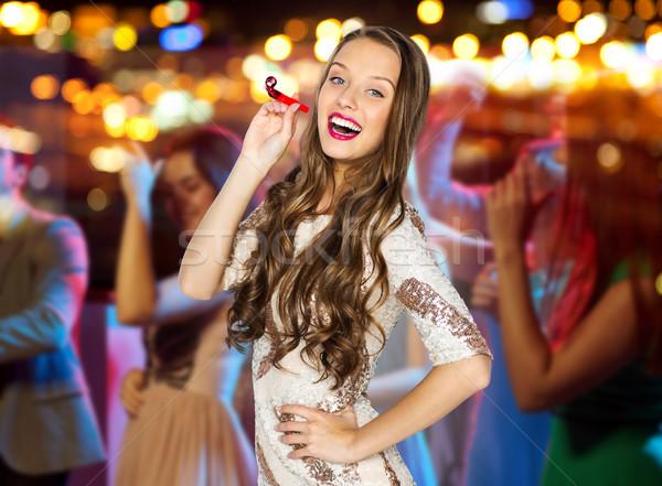 Gelukkig jonge vrouw tienermeisje kostuum mensen vakantie Stockfoto © dolgachov