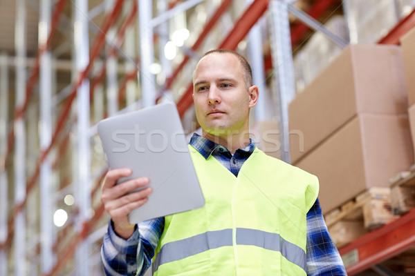 Werknemer magazijn groothandel technologie Stockfoto © dolgachov
