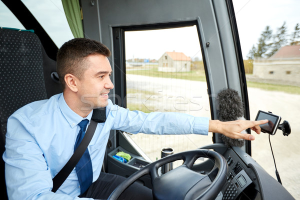 Photo stock: Bus · pilote · adresse · GPS · transport · transport