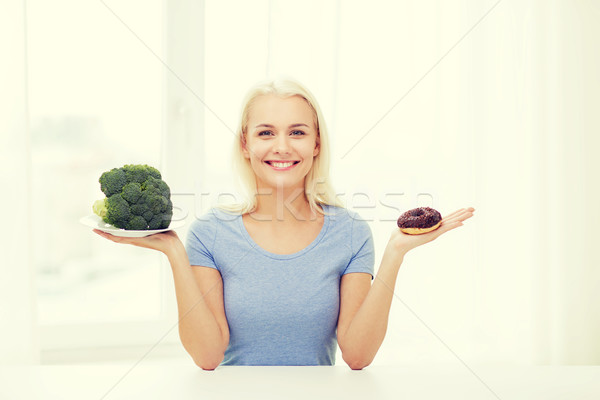 smiling woman with broccoli and donut at home Stock photo © dolgachov