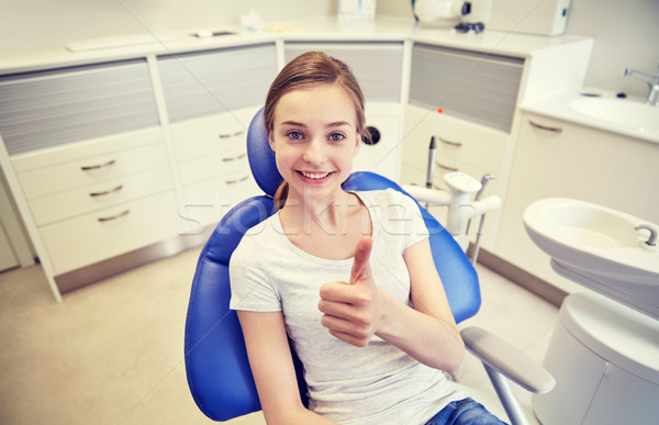 happy patient girl showing thumbs up at clinic Stock photo © dolgachov