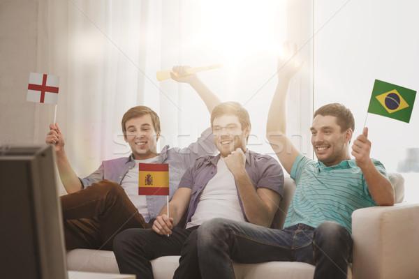 Stok fotoğraf: Mutlu · erkek · arkadaşlar · bayraklar · dostluk · spor