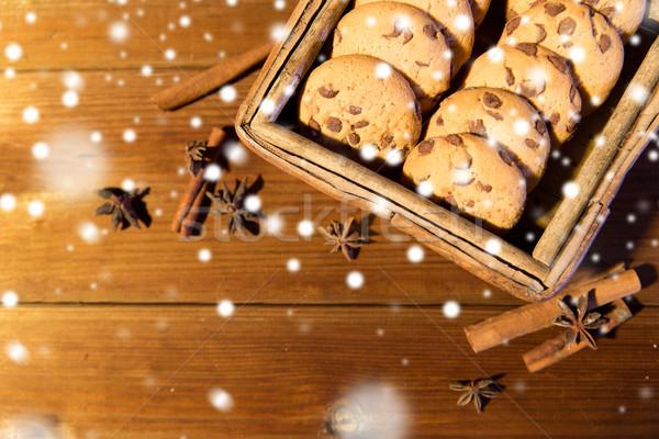 Közelkép zab sütik fa asztal sütés gasztronómiai Stock fotó © dolgachov